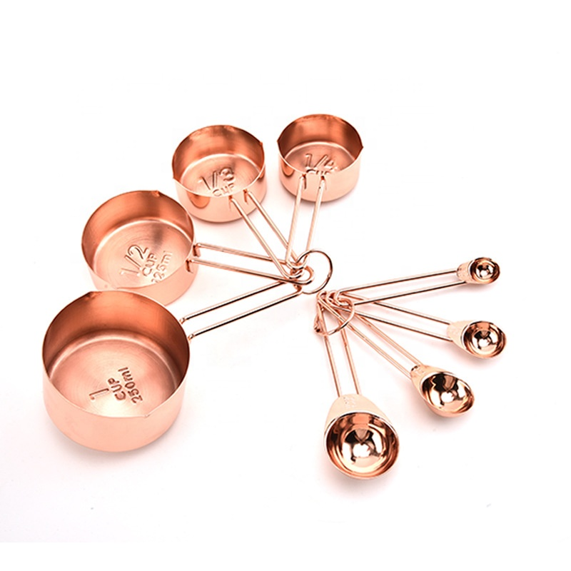 18/0 Stainless Steel <strong>Measuring</strong> Cups and <strong>Spoons</strong> Set in Silver/Gold/Rose Gold Color