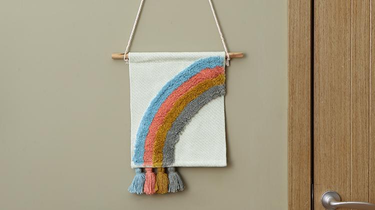 Boho personalizado casa decoração da parede de algodão pendurado tecido mão tufos cor tapeçaria tapeçarias de parede decorativos de parede