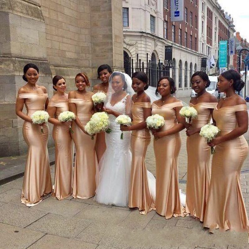 African Mermaid Bridesmaids Dress Long Gold Black Girl Wedding Guests Prom Dress