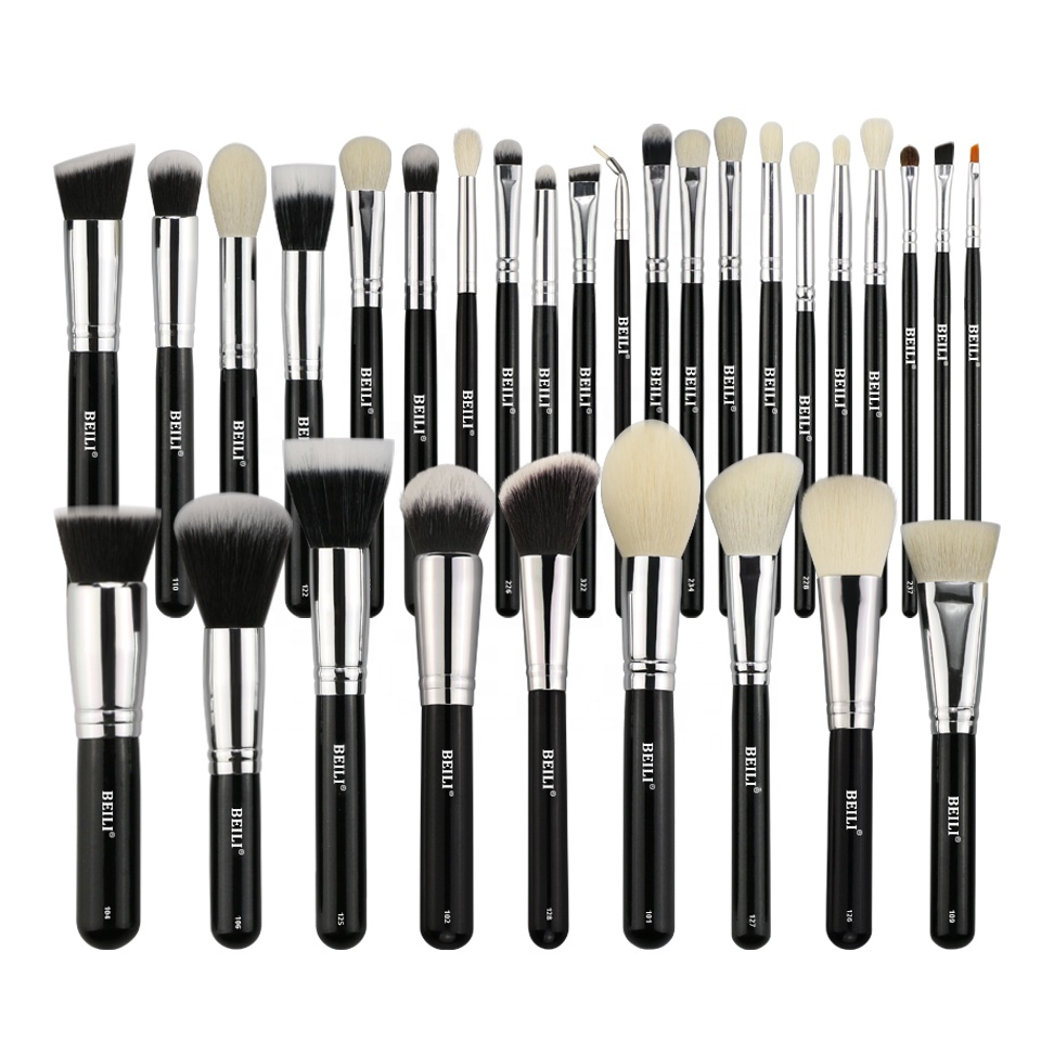 BEILI Black Professional Luxury Makeup Brush Set Kit Cosmetic Wholesale Factory Price Wood Handle Accept Private Label Customize фото