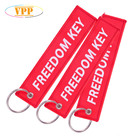Customized Shape Embroidery Twill Pilot Key Tag Embroidered Keychain Keyring For Promotion Business Gift