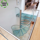 Design Indoor Glass Stairs CLEAVIEW FURNISHING Fashionable Small Glass Industrial Design Indoor Spiral Stairs
