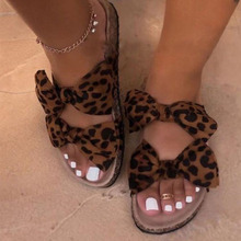 TW10473 Mode Twee Strik Lady Leopard <span class=keywords><strong>Kurk</strong></span> Slipper Mooie Dame Slippers