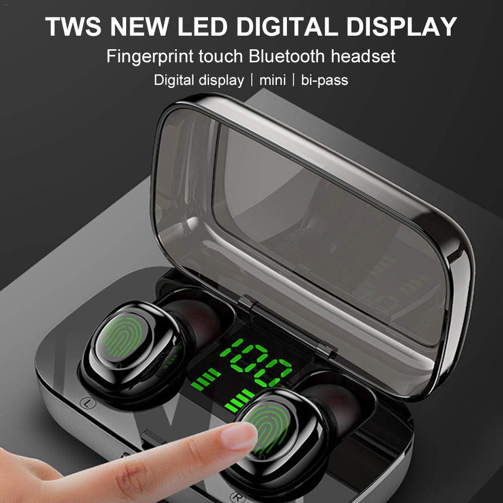 Tampilan Digital Tws Earbud Nirkabel Bluetooth 5.0 In-Ear Earphone Olahraga Headset dengan Pengisian Case