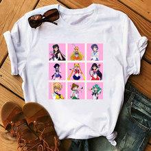 Сейлор Мун футболка мягкая девушка эстетическое аниме одежда летняя одежда для женщин Хиппи Белый Топ уличная одежда футболка Мультфильм(China)