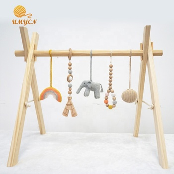 Wooden Baby Non-toxic Play Mat Folding Activity Gym With Rainbow Toy