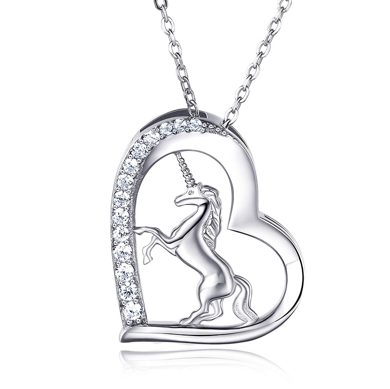 Unicorn Necklace 925 Sterling Silver Fairytale Unicorn Pendant Necklace For Women