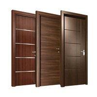 Modern black walnut solid wood door design Swing wooden interior room door
