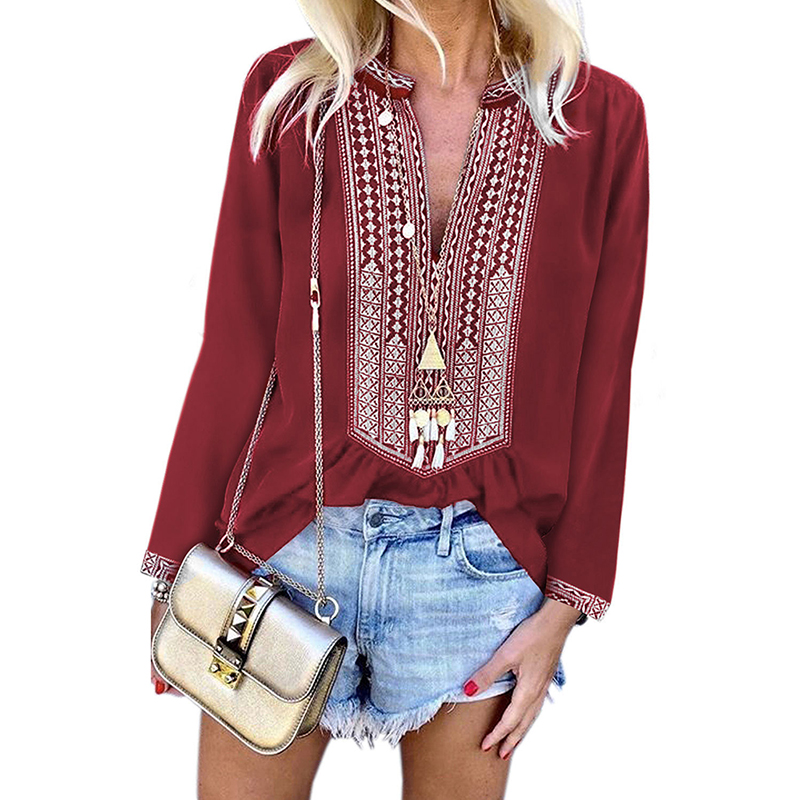Women Boho Shirt Long Sleeves Front Embroidery Blouse