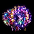 EVER FAIRY Party Glowing Wreath Colourful Crown Flower Headband Women Girls LED Light Up Hair Wreath Hairband Garlands Gifts