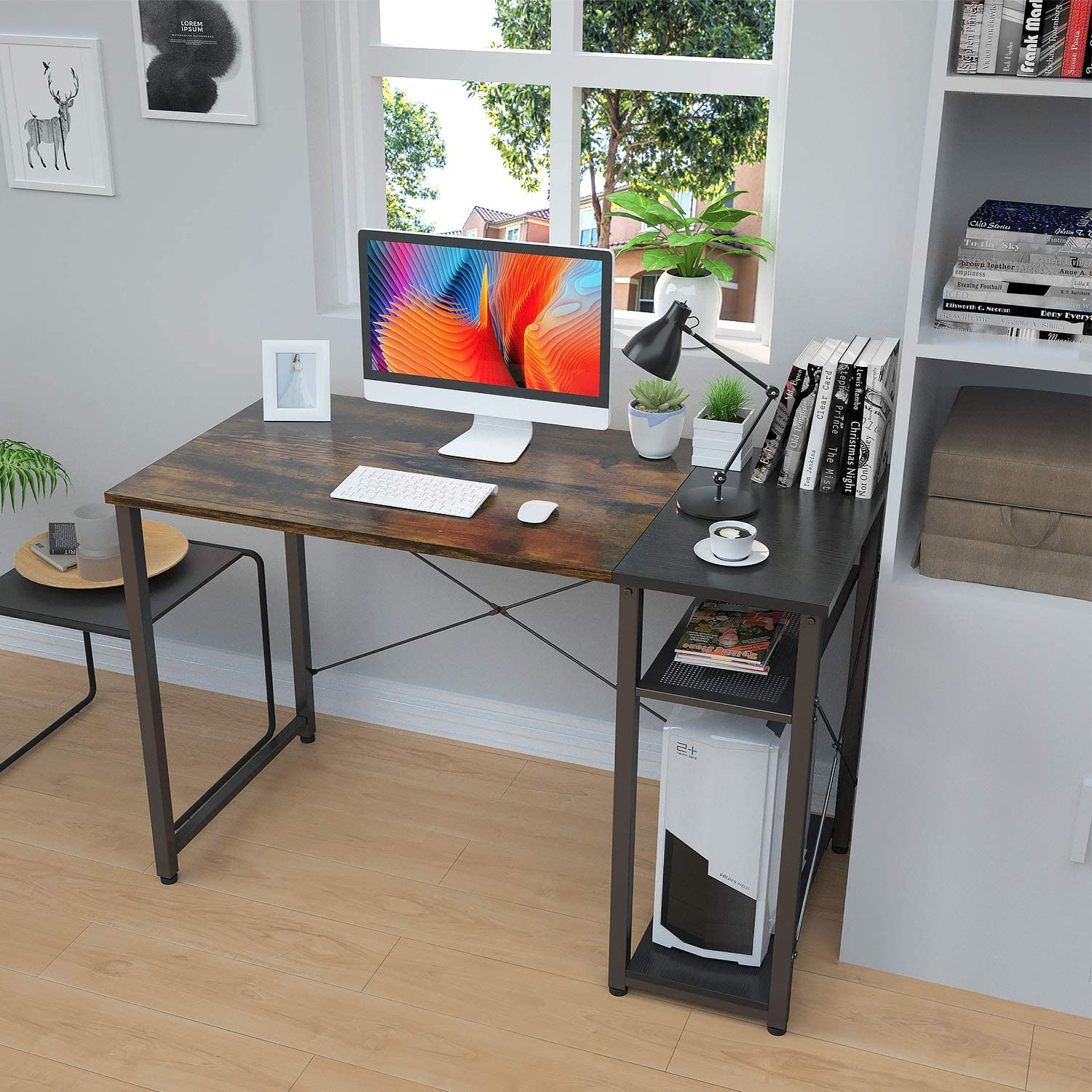 2020 modern home office furniture professional student study writing computer desk with shelf