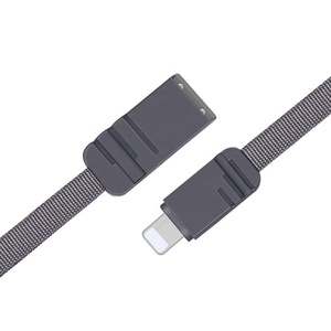 New 2019 USB 2.0 Fiber Optic Cable Flat Braided Usb Cable for Cell Phone