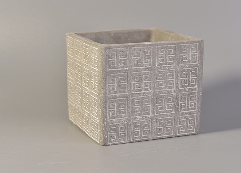 Embossed Square Concrete Candle Jar Wholesale