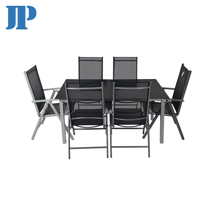 Promotional tempered glass  aluminium dining  table dining patio chair outdoor aluminium furniture  set
