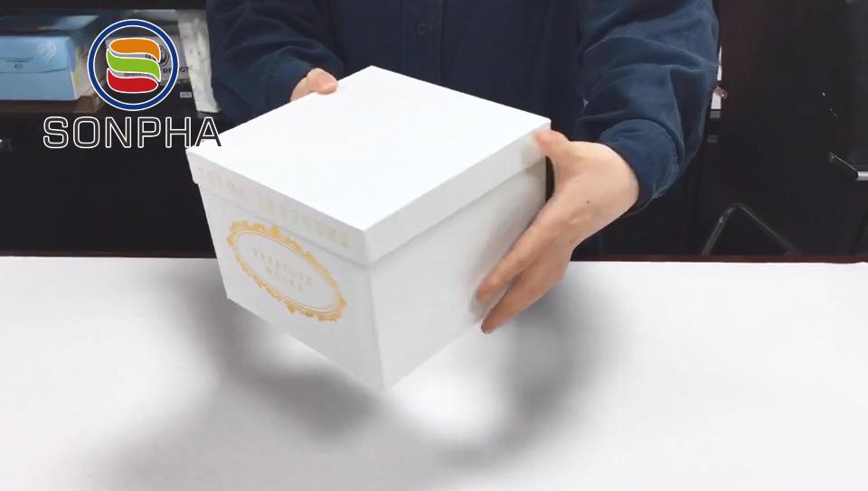 कस्टम मुद्रित लक्जरी बड़ा चौकोर आकार शिपिंग वितरण पैकेजिंग संरक्षित गुलाब मखमल फूल टोपी बॉक्स ढक्कन के साथ