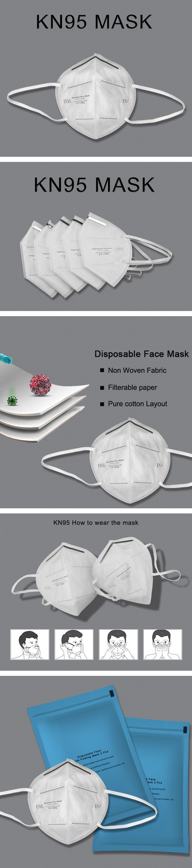 CE FDA Listed High quality Medical Non Woven Fabric Disposable Face Mask KN95 Mask