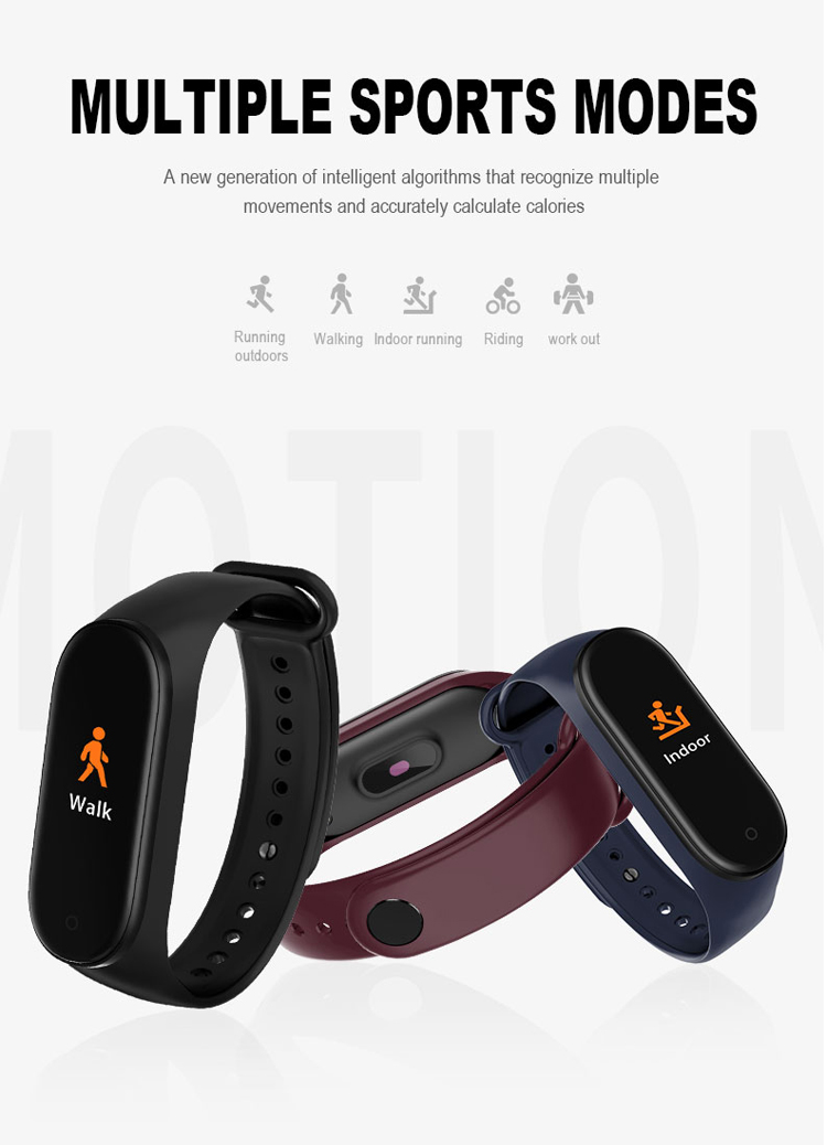 Wearfit Band Bluetooth Health Fitness Tracker Watch M4 Smart Bracelet with Heart Rate Monitor Calories Call Reminder