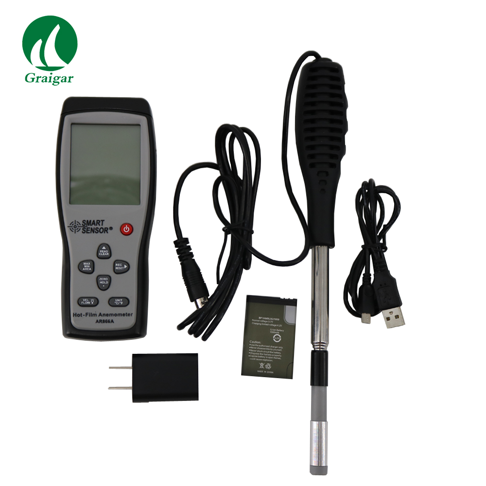 Smart Sensor AR866A 0.0-30M/S Hot Wire Thermo-Anemometer Air Flow Velocity Wind Speed Meter