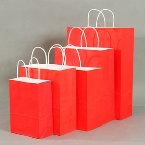 Eco friendly red recyclable  boutique paper shopping bags with logo