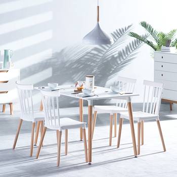 Contemporary design 4 seater dining table set furniture with solid wood legs