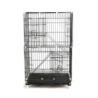 Black Three Layer Indoor Cat Cage with Stairs for Sale