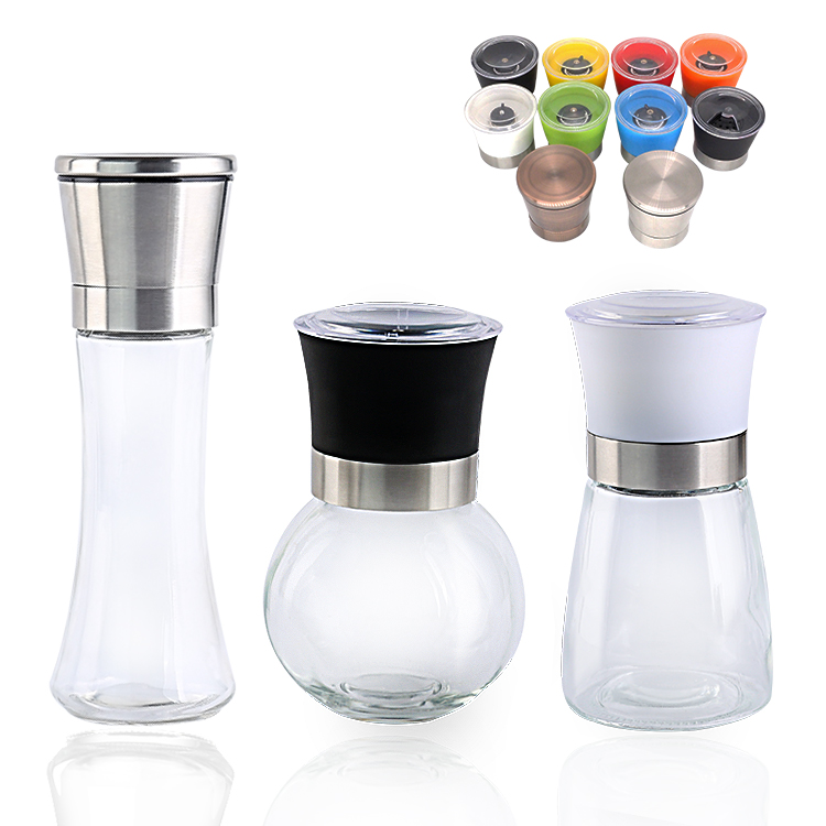 Amazon hot selling plastic spice pepper salt grinder mill set ceramic glass bottle