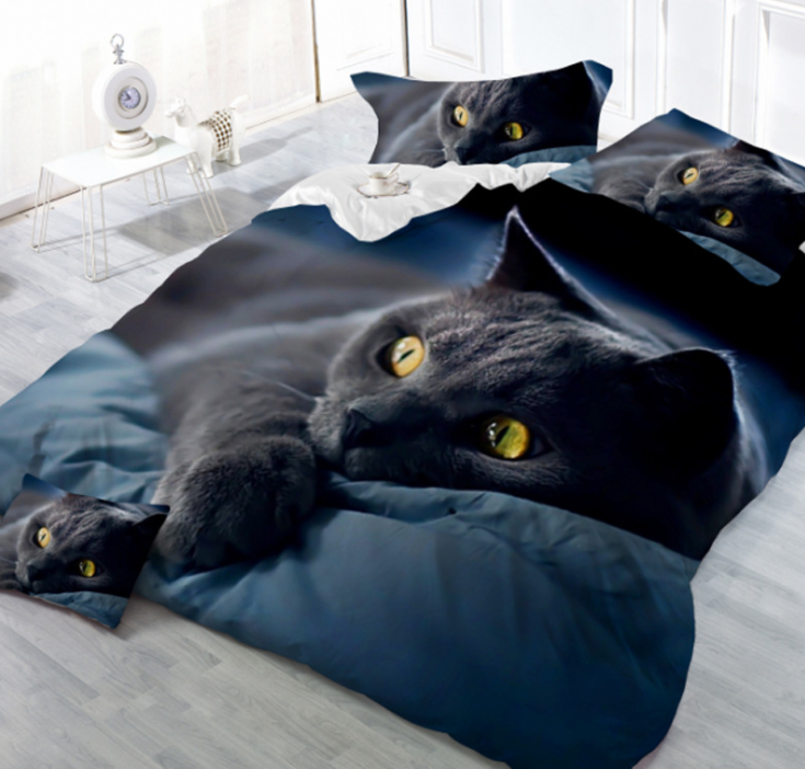 Sisher Adult Duvet Cover <strong>Set</strong> 3D Printed Animal Cat Comforter 4pcs Bedding <strong>Sets</strong> <strong>King</strong> <strong>Size</strong> Single Full Double <strong>bed</strong> linen flat sheet