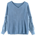 2019 New Stylish Women's Casual Solid V Neck Long Sleeve Knitted Pullover Plus Size Wool Ladies Sweater