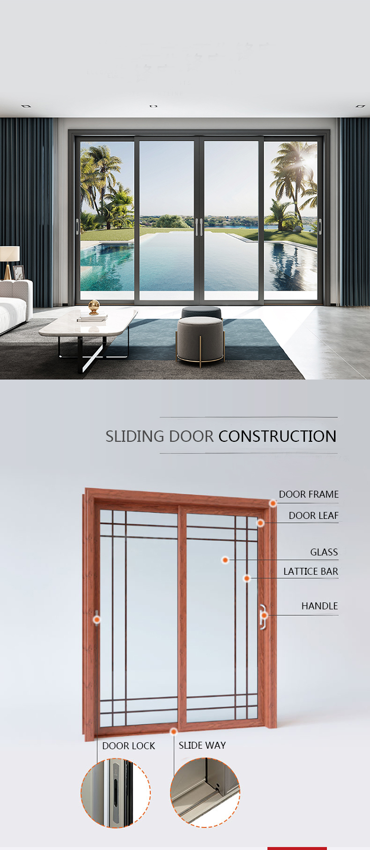 Aluminium frame 8 ft large industrial sliding glass doors bullet proof sliding glass doors