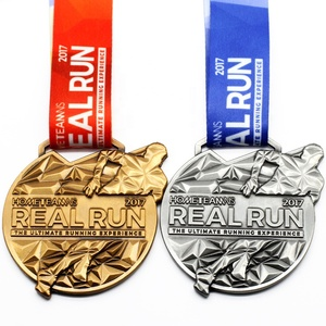 Wholesale Cheap Custom Design Your Own Blank Zinc Alloy 3D Gold Metal Award Marathon Running Sport Medal Ribbon
