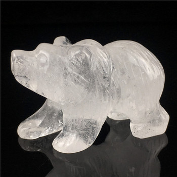 Wholesale Natural 1inch Clear Crystal Crafts Bear Figurines Foaling Bear Statue Crystal carved skulls