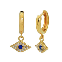 Fine Jewelry 18K gold Plated Huggie Earrings 925 Sterling Silver Sparkle Blue Trukish Eye Hoop Earrings