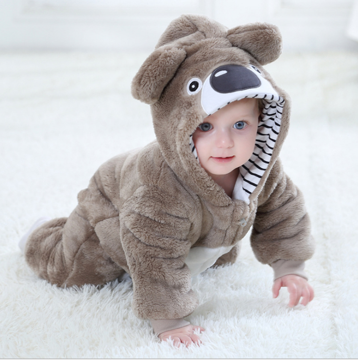 Wholesale boutique clothes online infant and toddler winter furry bear romper <strong>baby</strong> <strong>jumpsuit</strong>