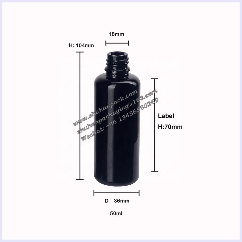 UV protection black purple glass essential oil bottles 50ml glass spray bottle black fine mist 50ml spray bottles