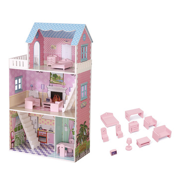 2020 latest kids large diy dream dollhouse set furniture toys big wooden doll house for children