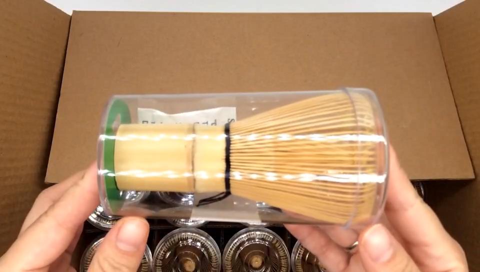 Japanese Style Baibenli Stirrer 100 Prong Chinese Tea Handmade Mixing Bamboo Matcha Whisk Set With Scoop
