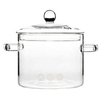 Glass soup Pot Heat Resistant Glass Cooking Pot with handles
