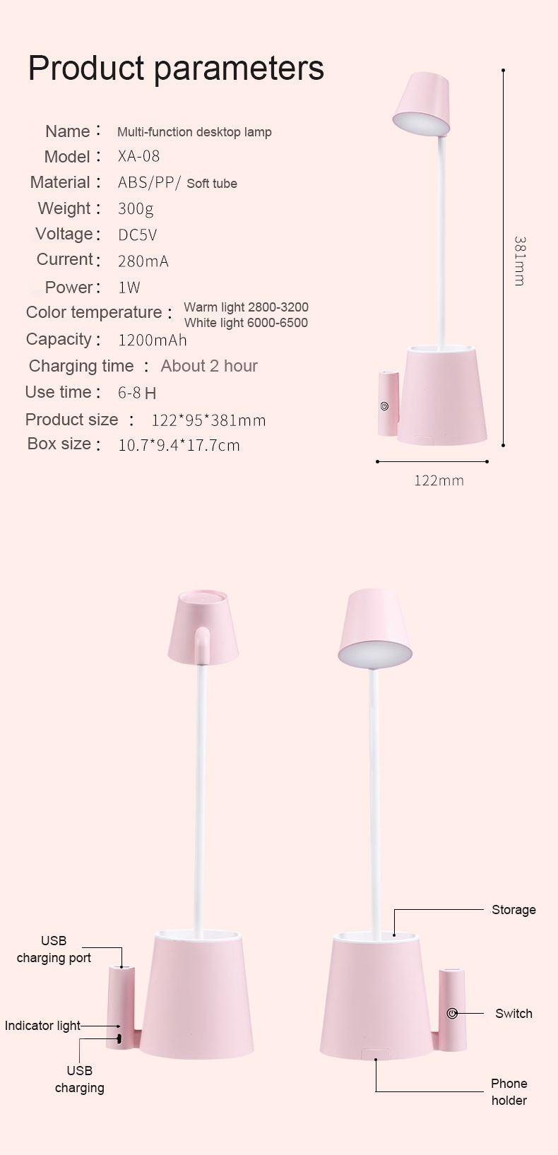 LED Recharge Desk Lamp Foldable Cute Table Reading Night Lamp For Kid