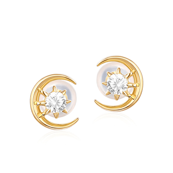 Fashion CZ diamond real 14K gold crescent moon stud earrings