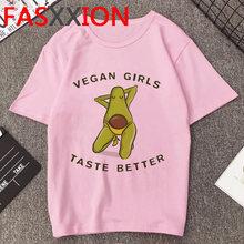 Vegan/Летняя футболка Kawaii, женская футболка с коротким рукавом и рисунком авокадо, розовые футболки 2020, женская одежда(China)