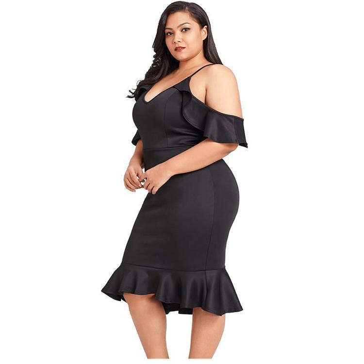 Groothandel Dames Hoge Kwaliteit Elegante Plus Size Off Shoulder Casual Jurk, Gedrukt Losse Dagelijks Jurk Plus Size Vrouwen