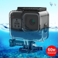 PULUZ GoPros Heros 8 Accessories 60M Waterproof Case Plastic Diving Housing Shell with Soft Button for GoPro Hero 8 Camera