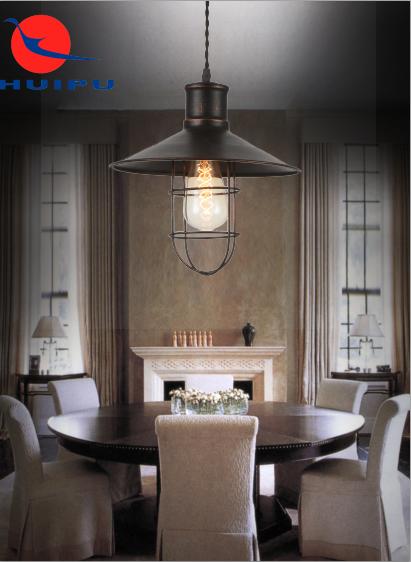 تصميم جديد الحديثة قفص بسيط E27 قلادة ضوء النمط الصناعي قفص حديدي فندق المنزل قلادة الخفيفة