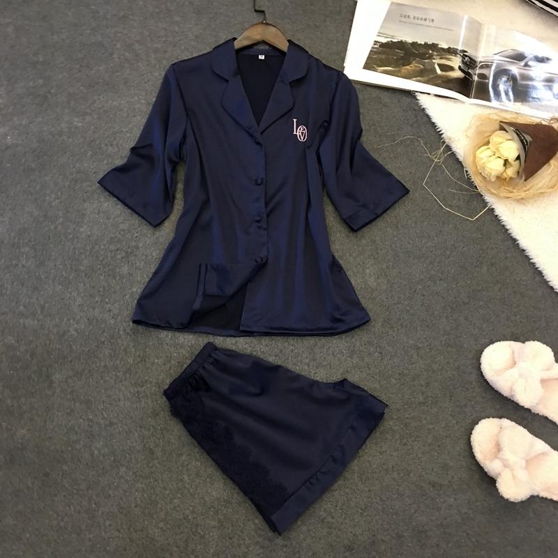 2019 nighty für damen familie pjs 100% silk pyjamas taste kurzarm Shorts Set
