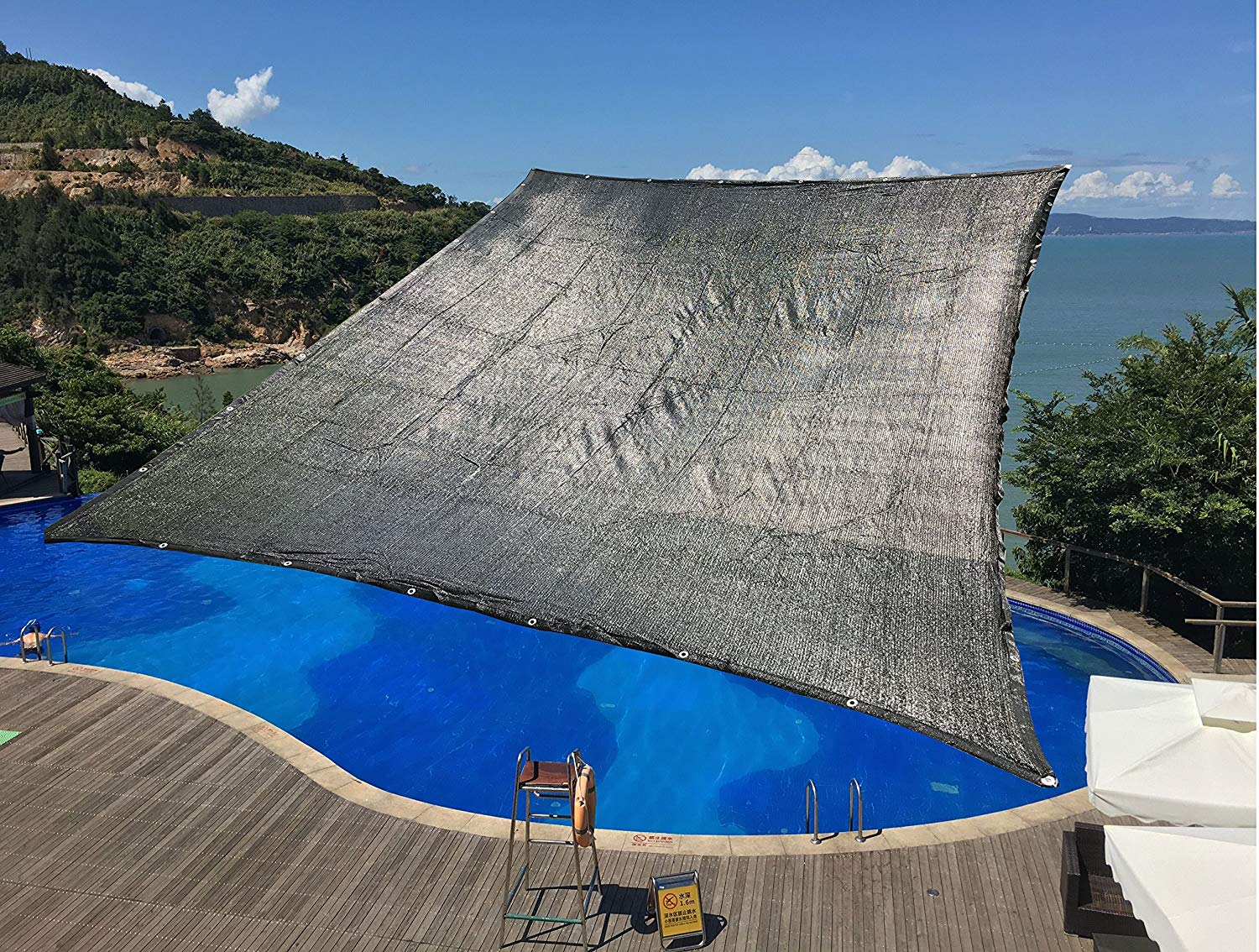10'x20' 70% Sunblock With Grommets UV Black Reinforced Binding Sun Shade net Cloth and shade tarp for Garden