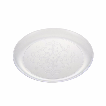 elegant design PS material clear disposable plastic plates with polished silver