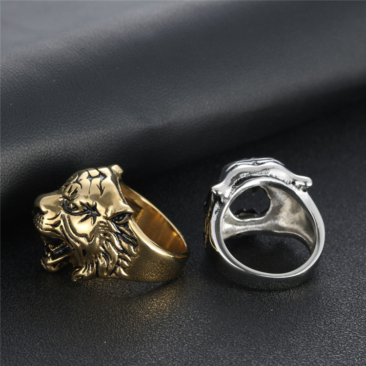 Stainless steel tiger head ring personalized retro men's ring series