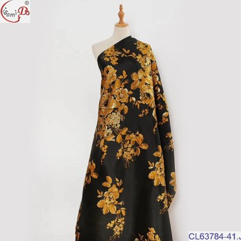 CL63784 black gold popular hot sale New Arrival European Style Flower pattern jaqured comfortable high quality brocade fabric