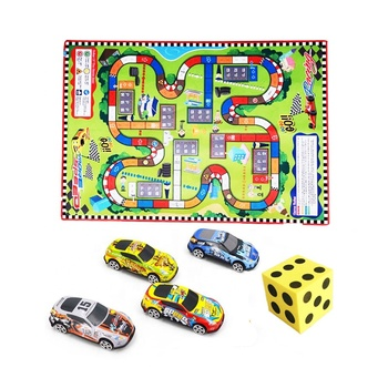 New item good sale 2 in 1 game mat traffic carpet with 4 metal cars toys set kids play mat
