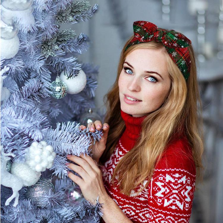 Di modo Handmade Alla Moda Dell'orecchio di Coniglio Fascia Elastica Rosso Annodato Di Natale Hairband per I Bambini Della Ragazza Della Donna di
